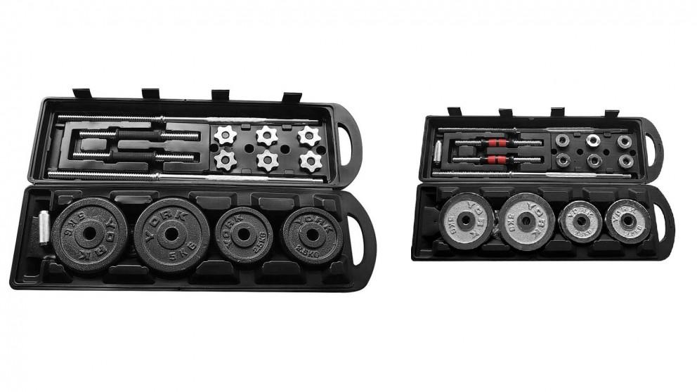 JMQ FItness 50kg Cast Iron Adjustable Dumbbell & Barbell Set with Case Fitness