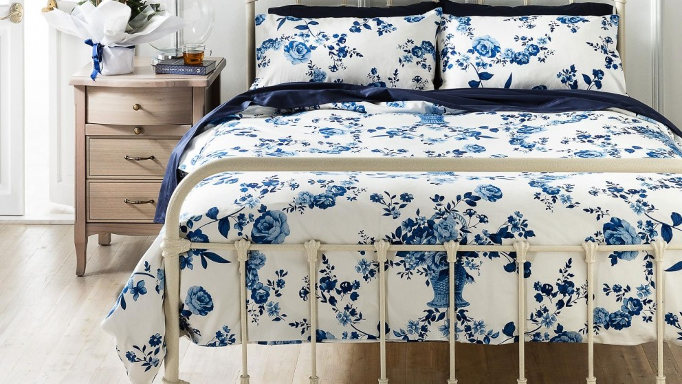 Fleur Blue Queen Quilt Cover Set