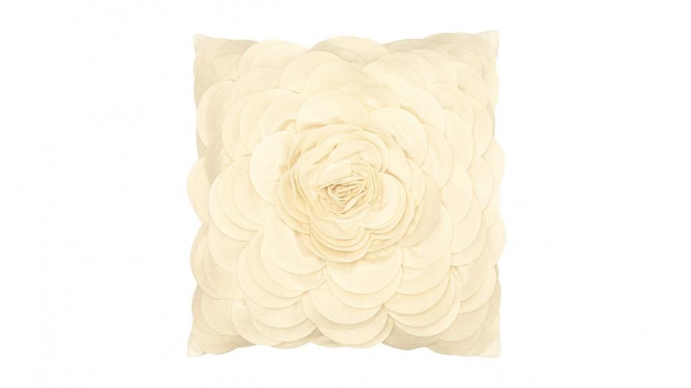 Floral Felt Cushion- Vanilla