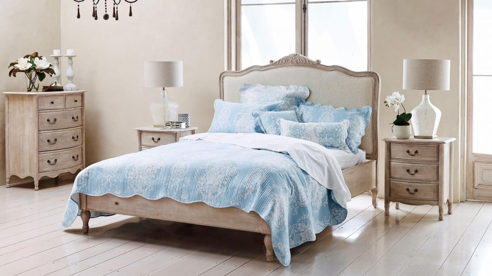 Florence Blue Printed Double Bedspread Set