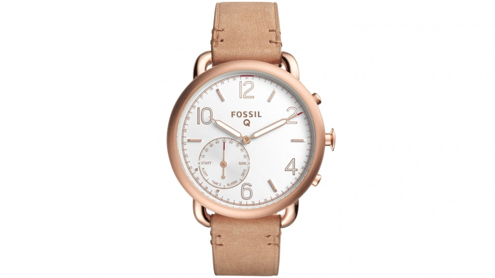 fossil q tailor light brown leather connected watch. Black Bedroom Furniture Sets. Home Design Ideas