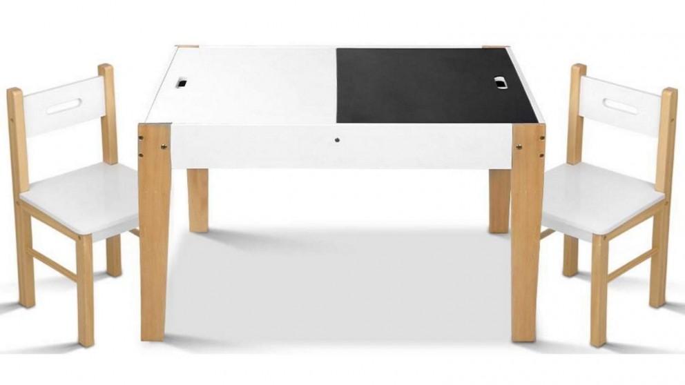 Artiss Kids Chalkboard Desk Set - White and Natural