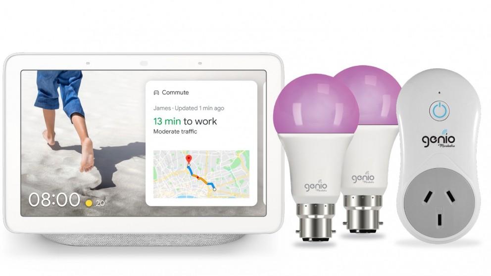 Google Nest Hub(Chalk) + Mirabella Genio B22 Light Bulb (2 Pack) + Genio Plug Bundle