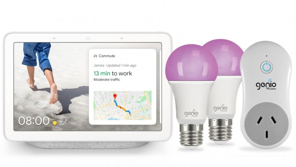 Google Nest Hub(Chalk) + Mirabella Genio E27 Light Bulb (2 Pack) + Genio Plug Bundle