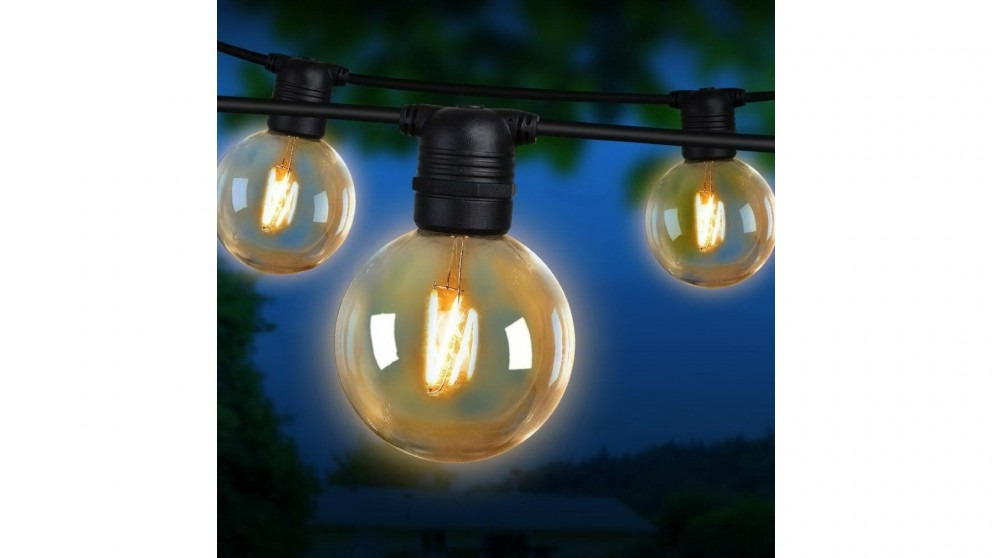 Jingle Jollys G80 Bulb 41m LED Festoon Lights Kit - Warm White