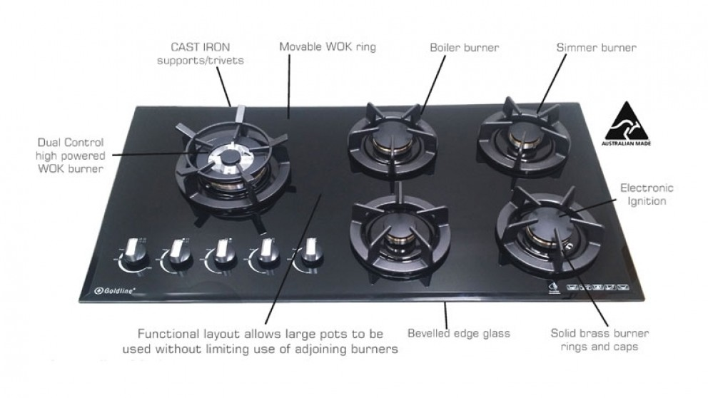 Goldline 900mm 5 Zone Dual Control Natural Gas Cooktop - Black