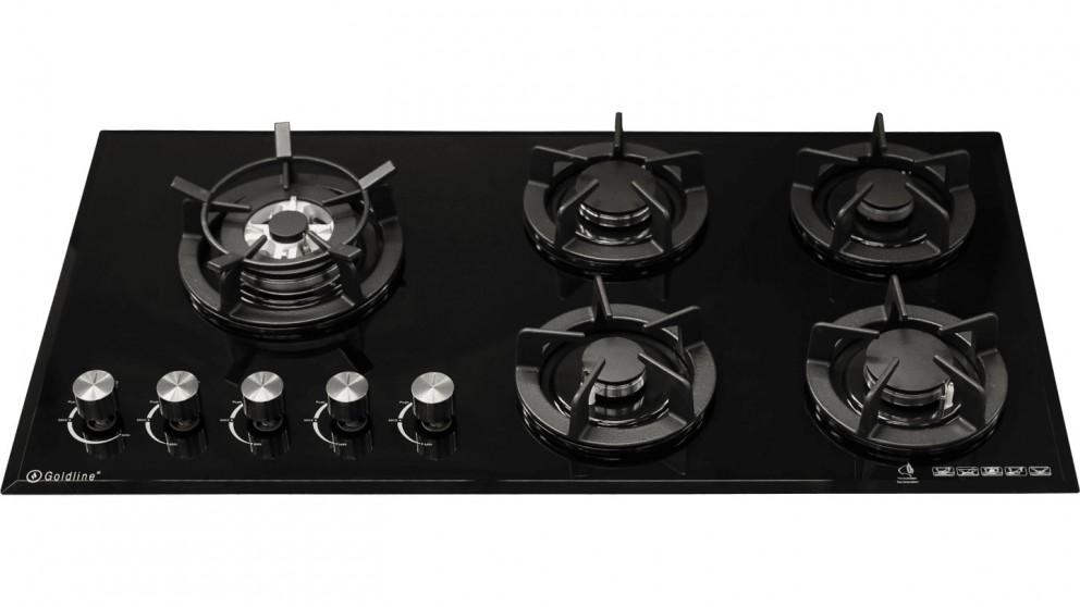 Goldline 930mm Slimline GL5 5 Burner Natural Gas Cooktop - Black