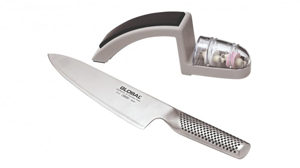 Global 2-Piece 20cm Knife and Sharpener Starter Set