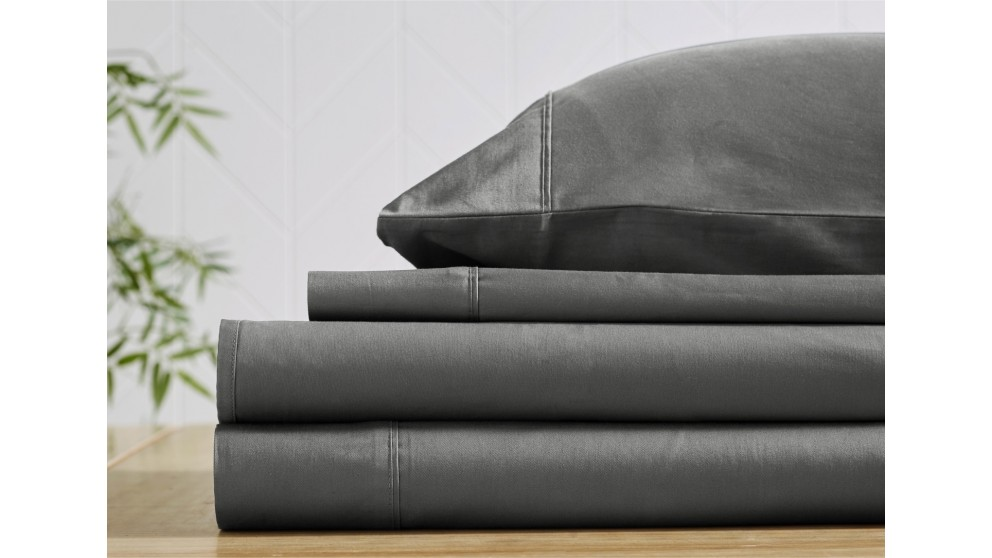 L'Avenue 300 Thread Count Charcoal Fitted Sheet - Single