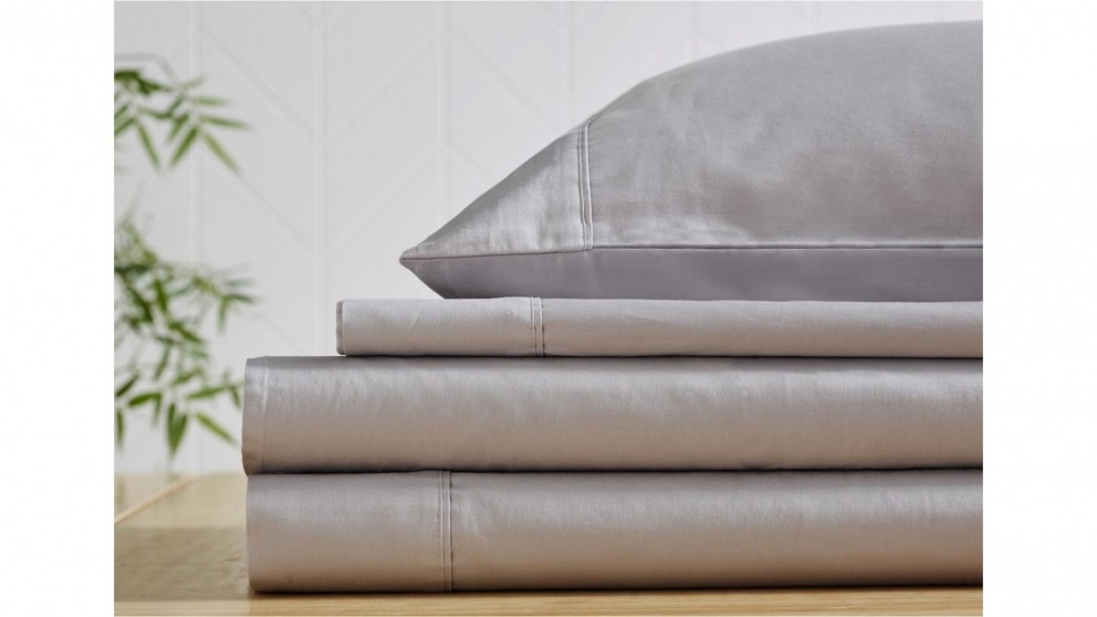 L'Avenue 300 Thread Count Silver Fitted Sheet - Single
