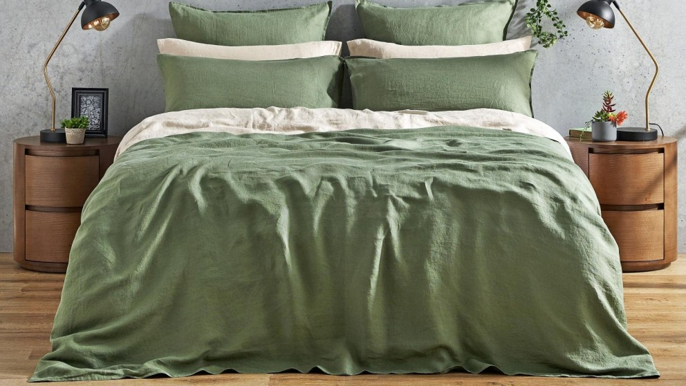 L'Avenue Pure Linen Olive Quilt Cover Set