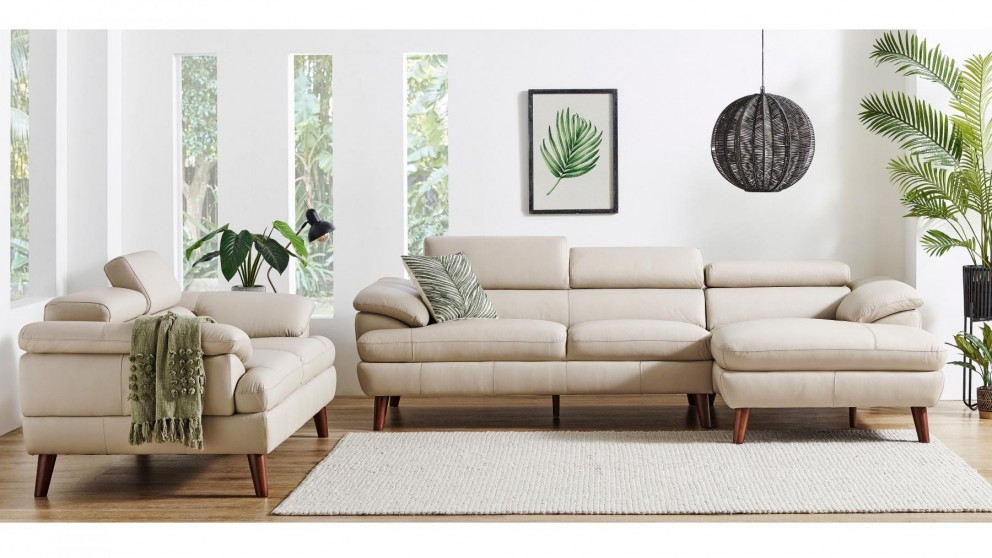 Boston 2-Piece Leather Lounge Suite - Wheat