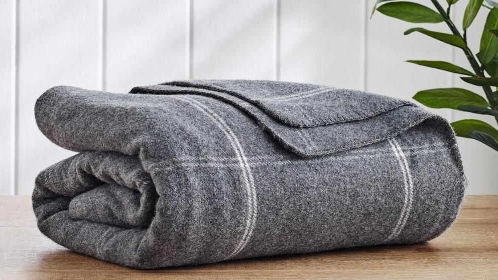 Wool Plaid Square Dark Grey Blanket - King/Super King