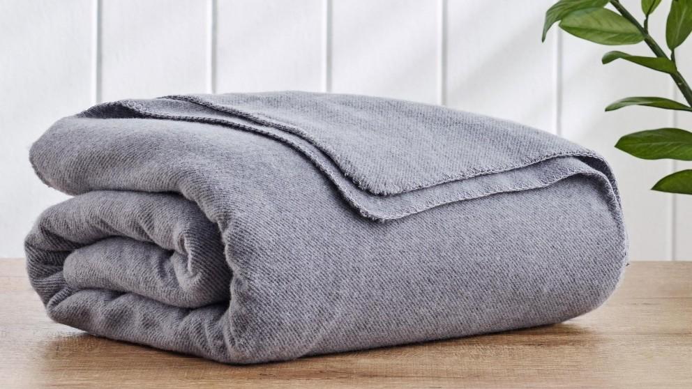 Wool Twill Grey Blanket - Double/Queen