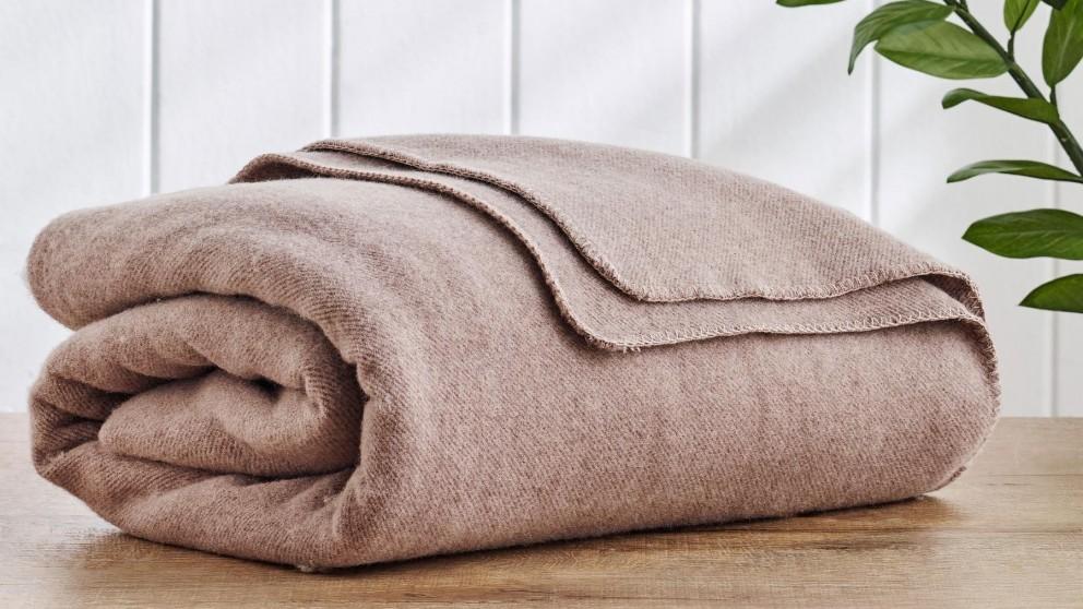 Wool Twill Mocha Blanket - Double/Queen