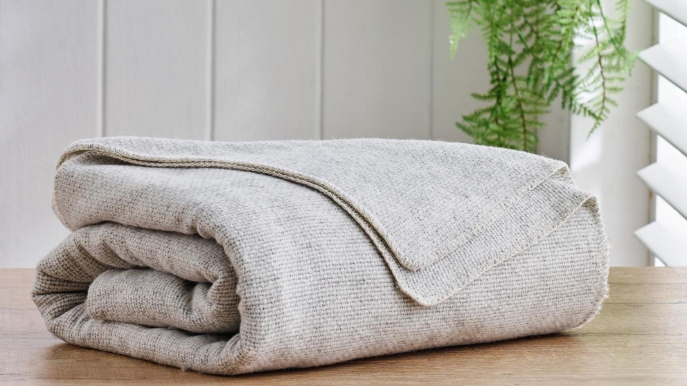 Alpaca Wool Light Grey Blanket - King/Super King