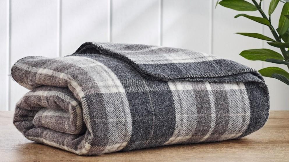 Wool Plaid Check Blanket - Single/King Single