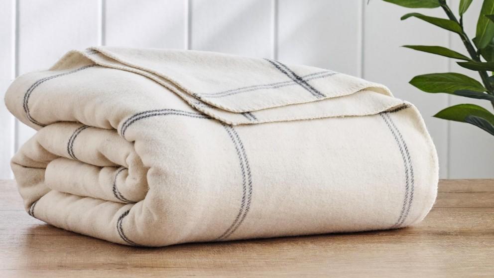 Wool Plaid Square Natural Blanket - King/Super King
