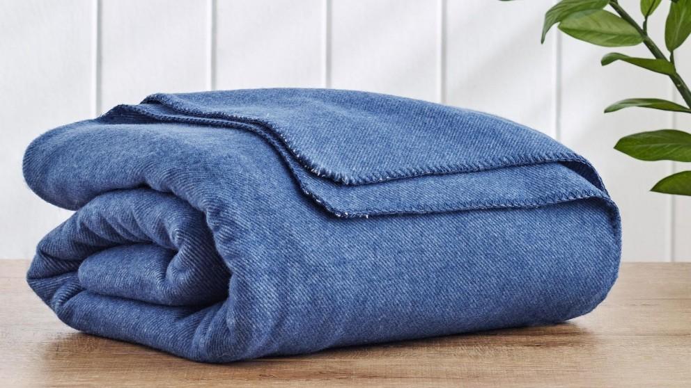 Wool Twill Navy Blanket - Double/Queen