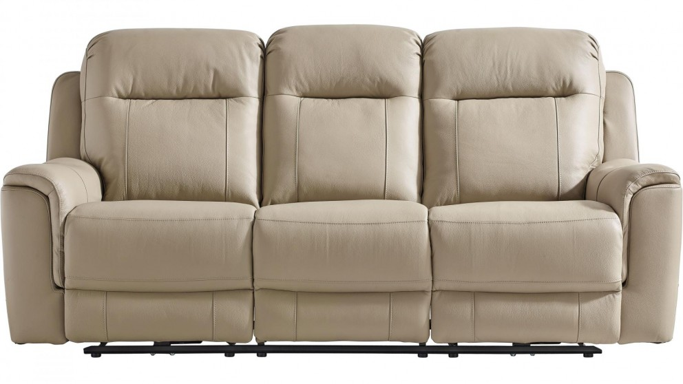 Blaxland 3-Seater Leather Powered Recliner Sofa - Husk