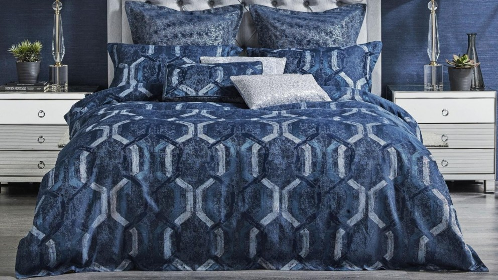 Denim Geo Blue Quilt Cover Set - Super King