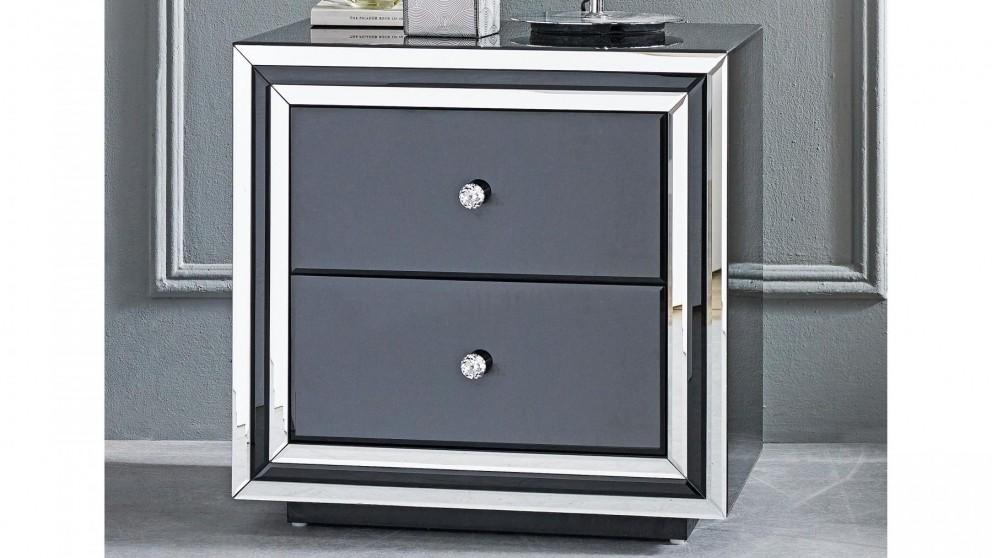 Peninsula 2-Drawer Wide Bedside Table - Black