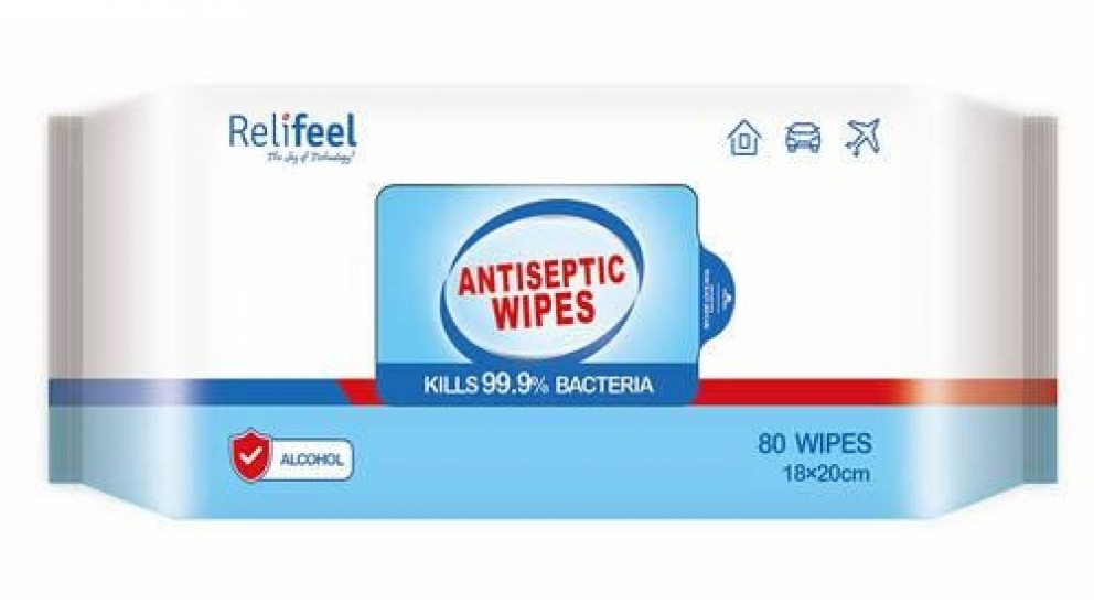 Relifeel 80 Antibacterial Alcohol Wipes - 24 Packs