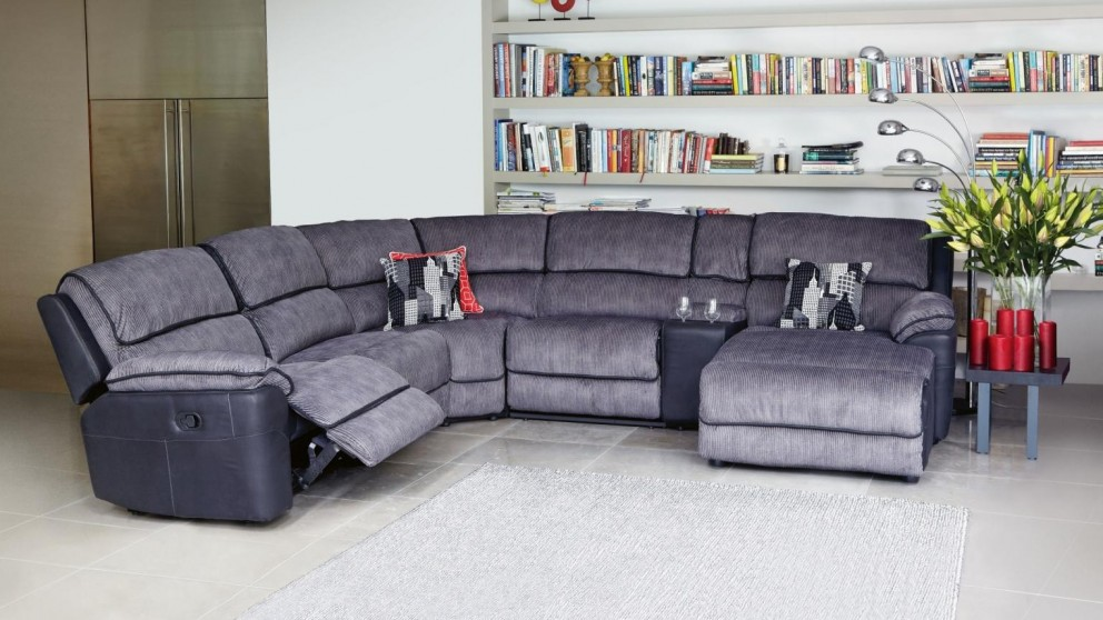 Bourbon Fabric Modular Corner Recliner Lounge Suite ...