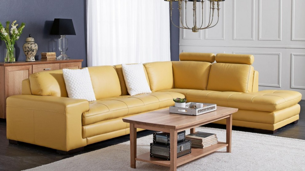 Dylan Leather Corner Sofa with Chaise - Mimosa