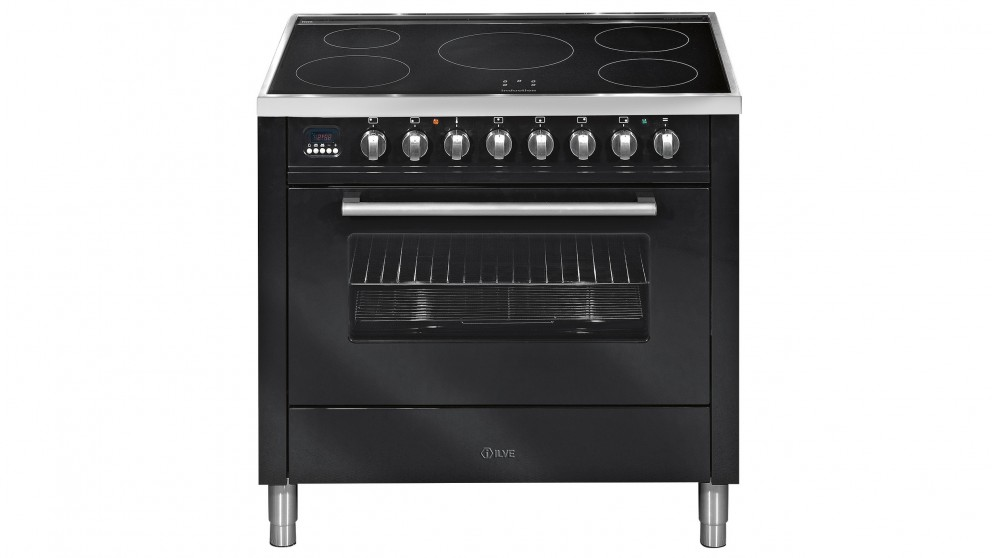 ILVE 900mm Induction Electric Freestanding Cooker - Gloss Black
