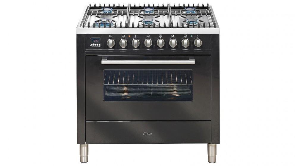 ILVE 900mm Freestanding Gas Cooker- Gloss Black