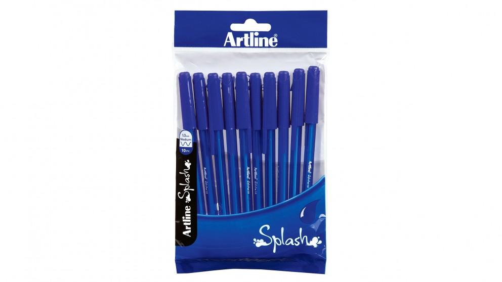 Artline Splash Stick Pens 10 Pack - Blue