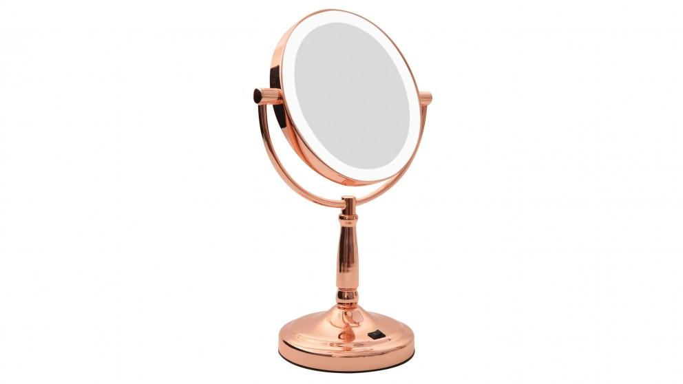 Buy homedics led vanity mirror rose gold harvey norman au for Miroir rose gold