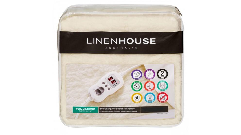 Linen House Wool Multi Zone Electric Blanket - King Single