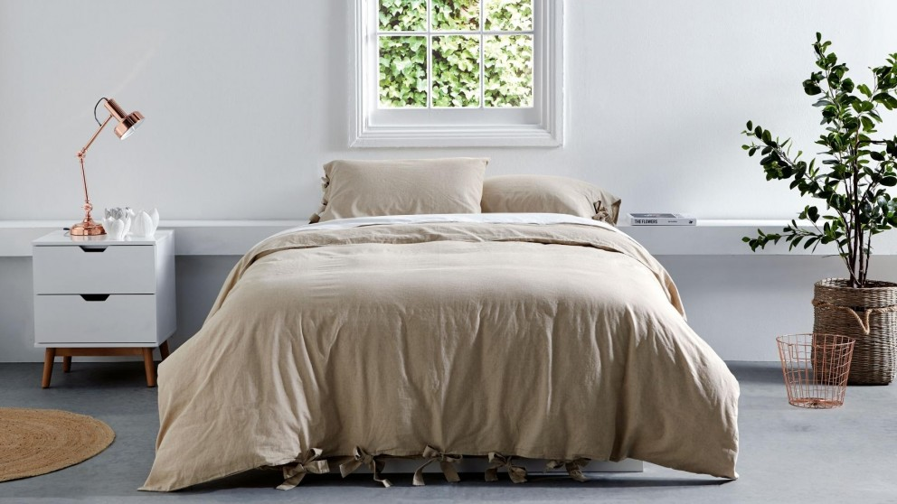 Grayson Natural Quilt Cover Set - Queen