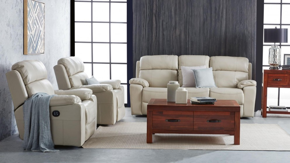 Lacy 3 Piece Leather Powered Recliner Lounge Suite