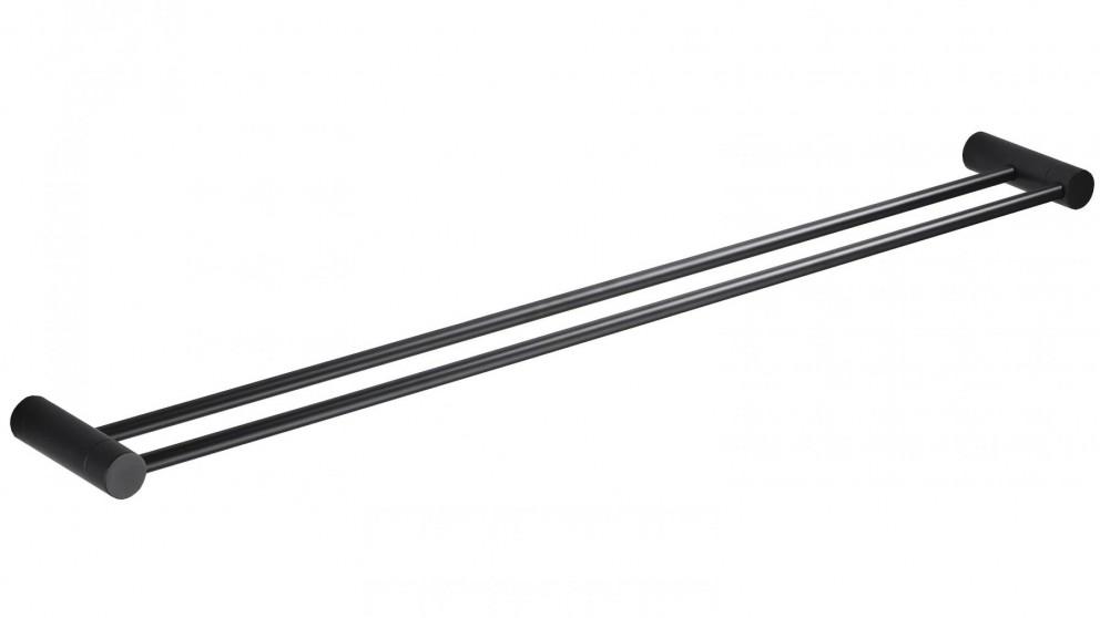 PLD Oasis Matte Black 900mm Adjustable Double Towel Rail