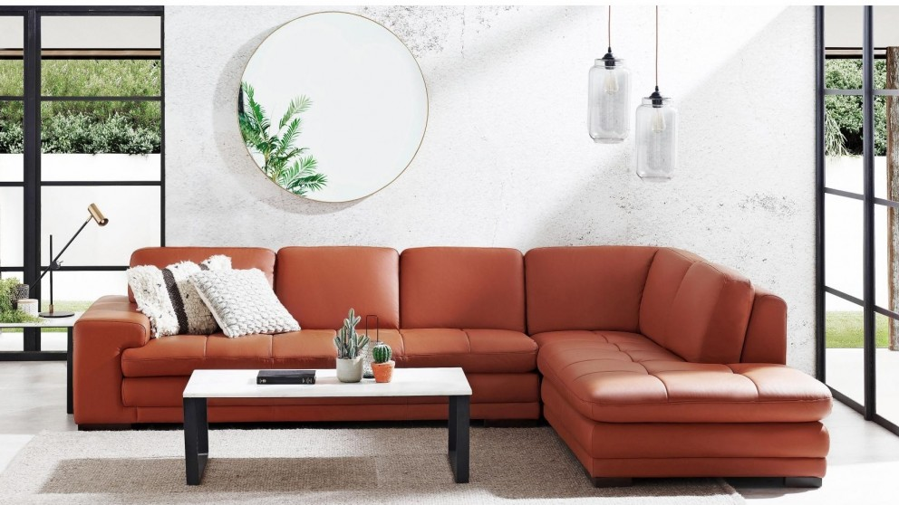 Dylan Leather Corner Sofa with Chaise - Terracotta