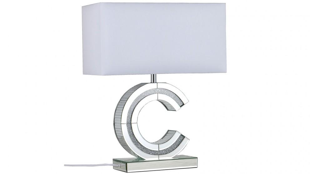 Clare Small Mirror Table Lamp - White