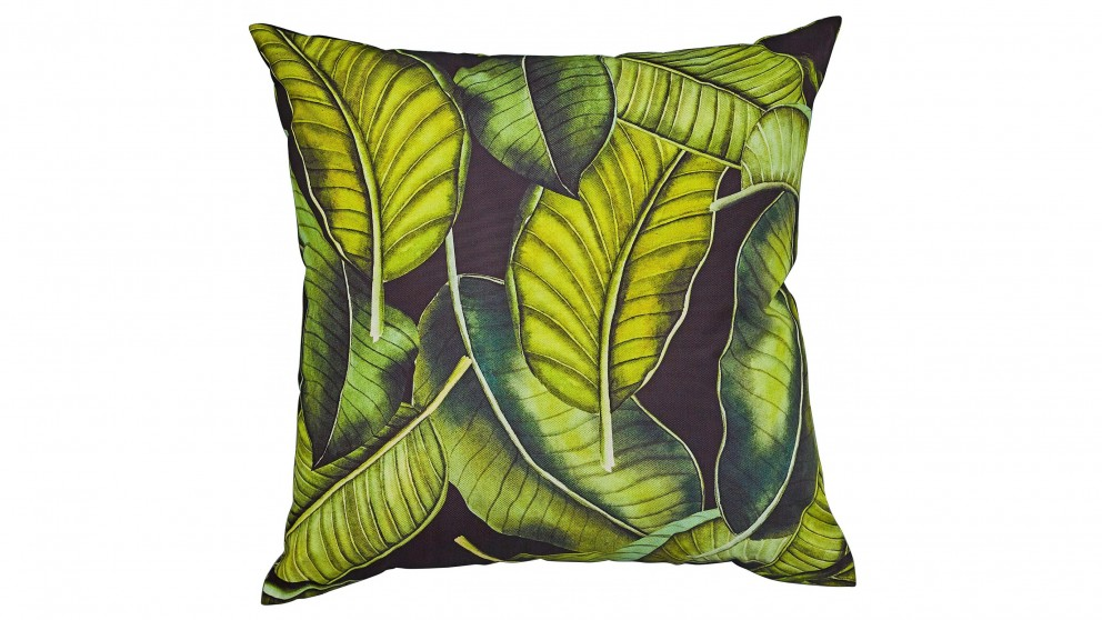 Banana Leaf Square Black Outdoor Cushion