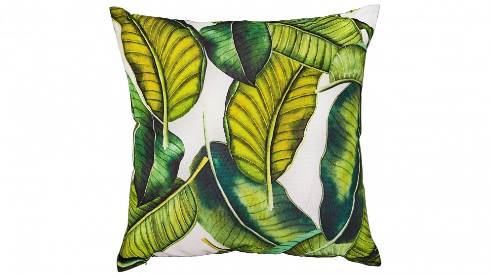 Banana Leaf Square White Outdoor Cushion