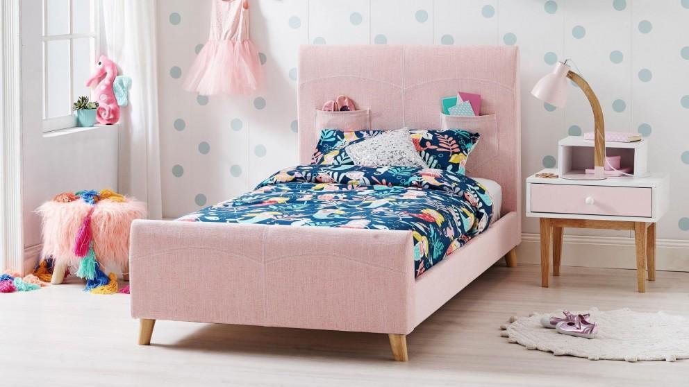 Heston King Single Bed Pink, Pink Upholstered Bed Frame Australia