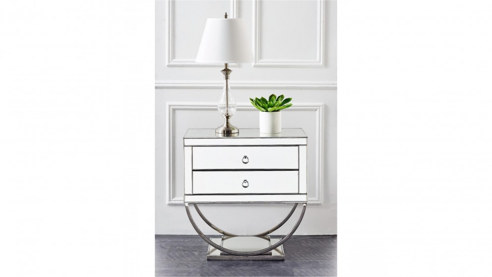 hollywood 2 drawer bedside table clear