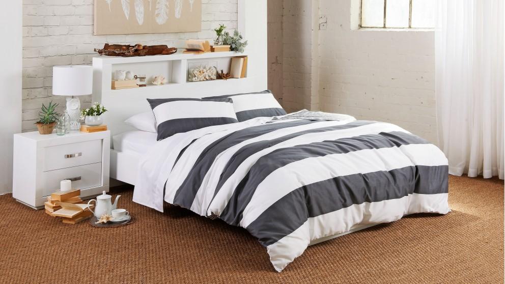 Norfolk Stripe Grey Quilt Cover Set - Queen