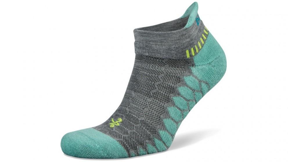 Balega Silver No Show Grey/Aqua Socks - Small