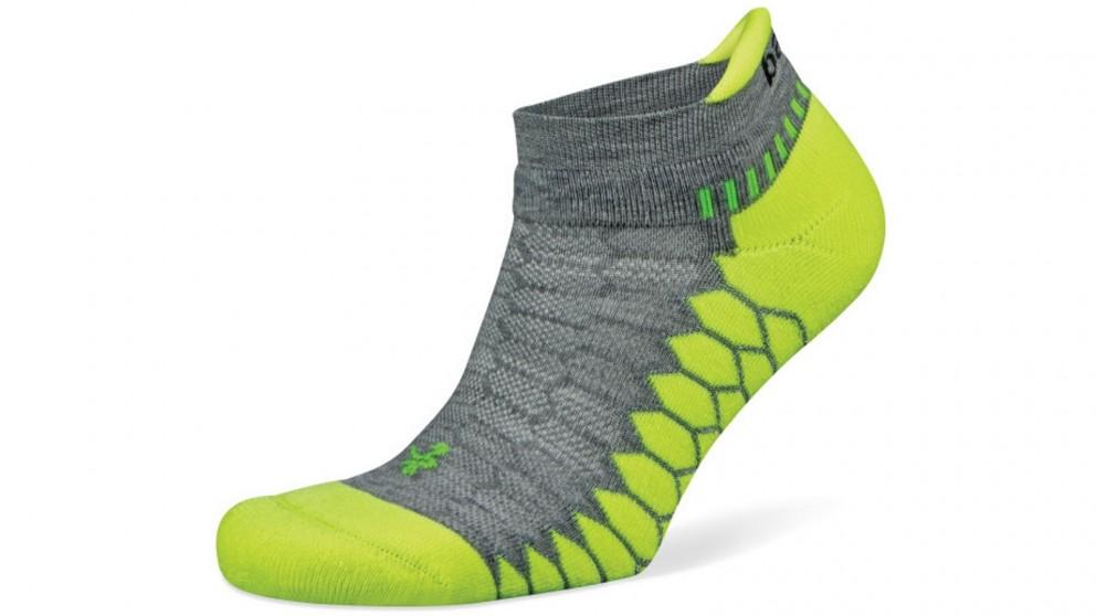 Balega Silver No Show Grey/Lime Socks - Large