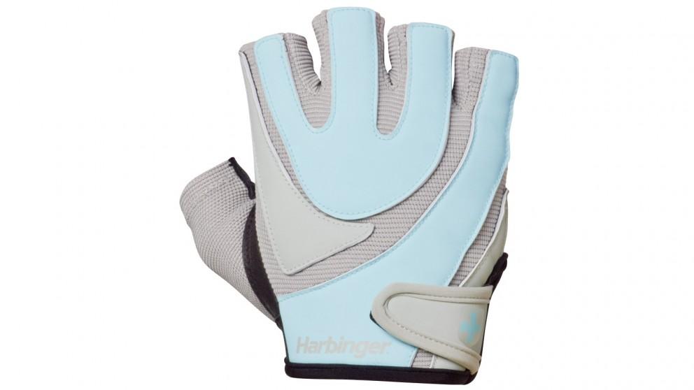 Harbinger Large Women's Training Grip Gloves - Blue/Grey