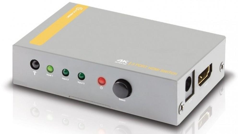 Alogic 3-Port HDMI 2.0 4K Switch with Wireless Remote