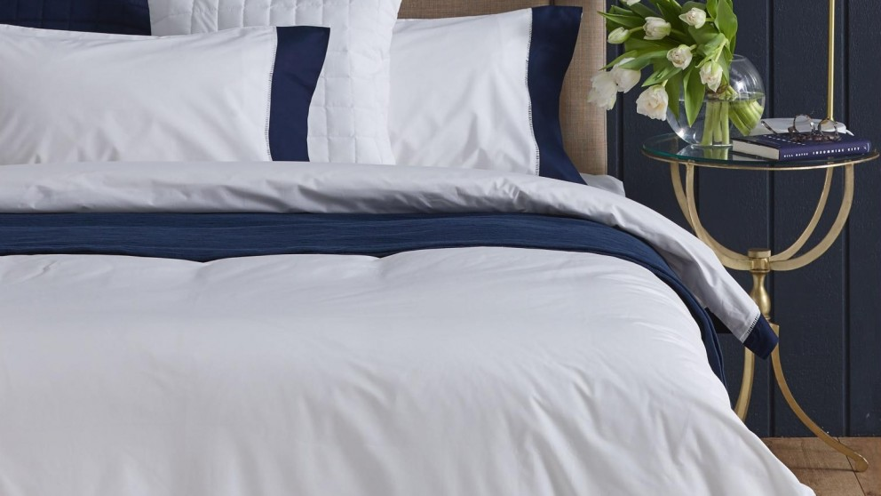 L'Avenue Hemstitch Navy Border White Quilt Cover Set - Queen