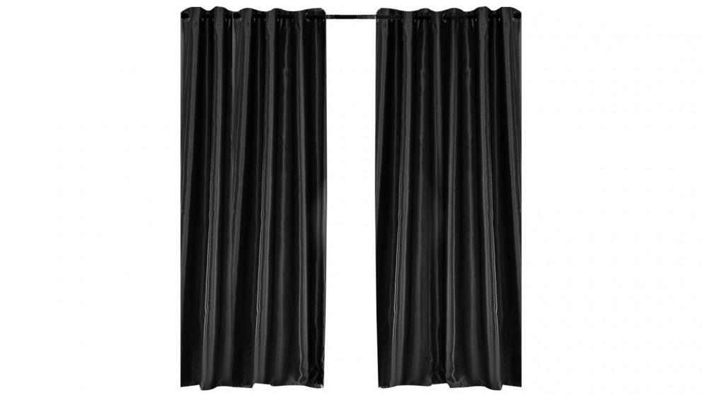 2-Panel 140x230cm Bedroom Eyelet Blockout Curtain - Black